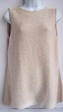 Lafayette 148 New York Beige Cream Sleeveless 100% Cotton Sweater size L large