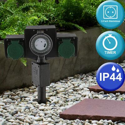 Energie Strom Verteiler 2-Fach Steckdosen Erdspieß Timer Uhr Garten IP44 schwarz
