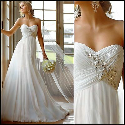 New Chiffon White/Ivory A-line Beach Wedding Dress Stock Size US4 6 8 10 12 14