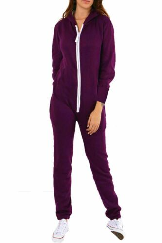 Women Hooded Hoody ZipUp All In One 1Onesie Ladies Long Sleeve Jumpsuit Dungaree