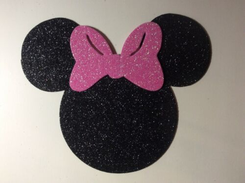 "Glitter Foam Minnie Mouse Head w//Pink Bow Set 12 Die Cuts 10"" H Party Decoration"