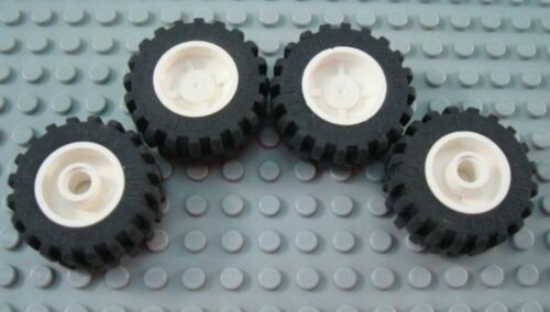 LEGO Lot of 4 Medium Tires with White Hub Inserts
