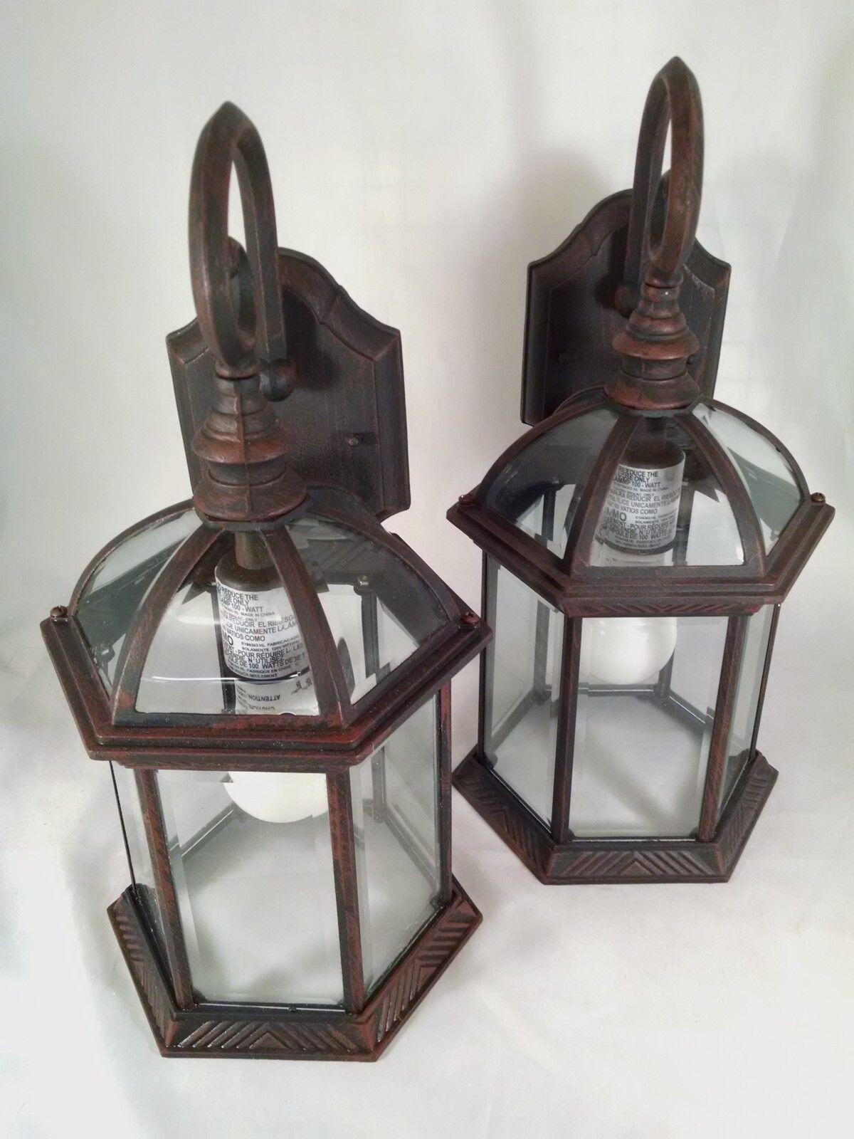 2 PACK Wall Lanterns Cast Aluminum Rust Finish Clear Glass EASILY CHANGE BULB