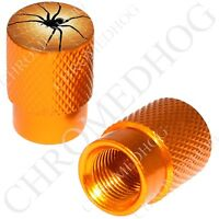 2 Gold - Billet Aluminum Custom Valve Caps For Motorcycle & Cars - Black Spider