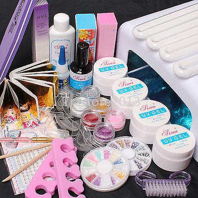 New 36W UV Dryer Lamp Glitter Powder French Nail Art Tips Gel Tools DIY Kit Set
