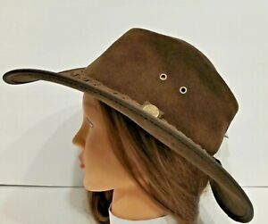 77dca43ae17b2 Image is loading Henschel-Hats-OUTBACK-Rustic-CRUSHABLE-Leather-Western- Cowboy-