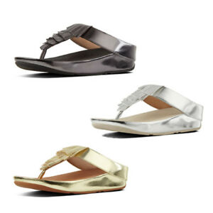 54de798c23dde4 Image is loading FitFlop-Cha-Cha-Fringe-Metallic-Womens-Toe-Post-