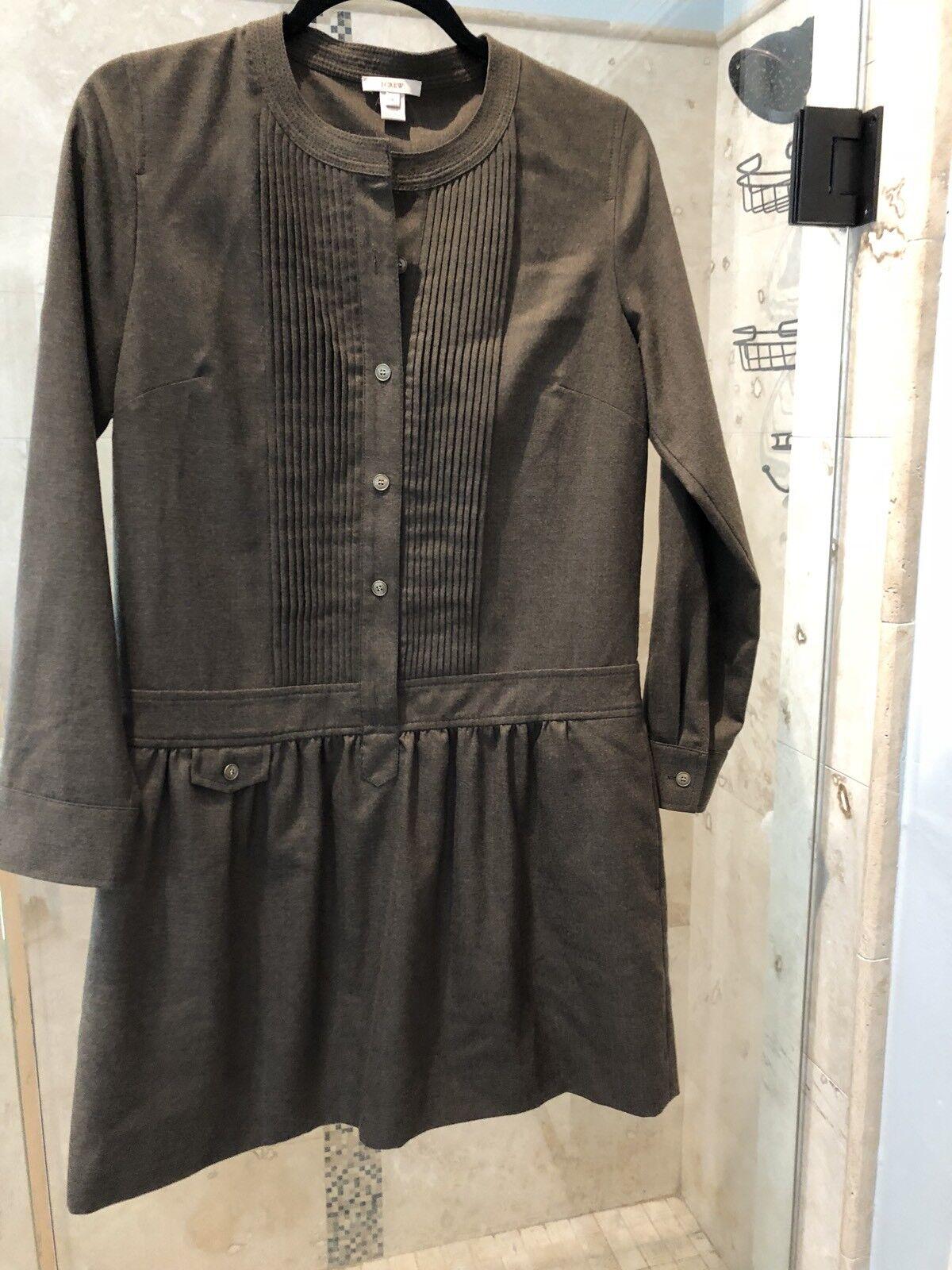 J Crew Wool Drop Waist Dress Long Sleeve Pleated Army Grün Pockets - S 4