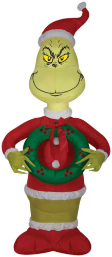 CHRISTMAS THE GRINCH DR SEUSS WITH WREATH 4 FT Airblown Inflatable