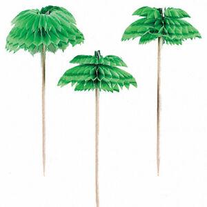 48 honeycomb palm tree food picks cocktail sticks hawaiian party
