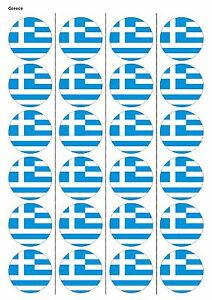 24x Precortada Grecia Bandera Rugby Comestibles De Oblea de papel Cake Toppers 1194 Cupcake