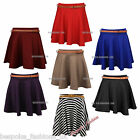 New Womens Full Circle Short Skater Skirt with Belt Plain and Printed Size SM ML
