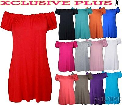 Ladies Plus Size Off Shoulder Gypsy Long Tops Stretch Summer Boho Tops