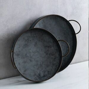 Retro-Round-Iron-Plate-With-Handles-Metal-Vintage-Bread-Table-Photography-Tray