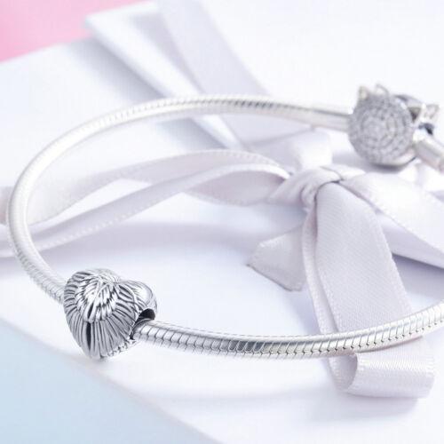 Ailes d/'ange argent sterling 925 Pendentif En Forme De Cœur Charme Perle pour Bracelet Collier