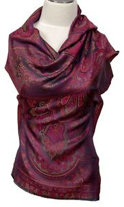 SCIARPA-100-SETA-MULTICOLOR-PAISLEY-silk-scarf-foulard-soie-echarpe-sciarpa-seitseman