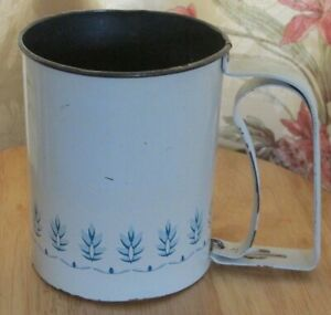 Vintage Androck Flour Sifter Usa Blue Design Squeeze