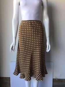 Details about Banana Republic Olive & Cream Silk Polka Dot Midi Skirt Size  12 Plus Size Career