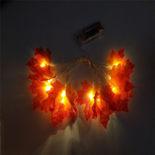 10//20//30 LED Fall Maple Leaves Fairy String Light Leaf Lamp Garland Party Decor