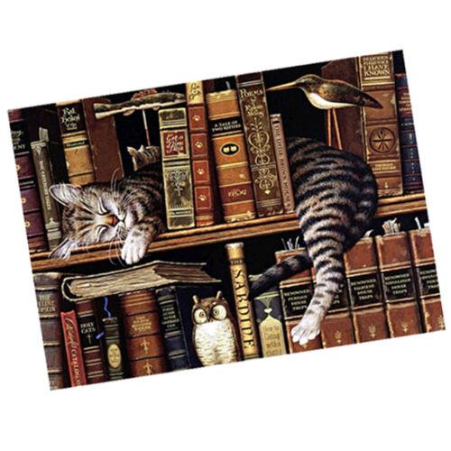 Full Drill Cats Owl DIY 5D Diamond Painting Bookshelf Cross Stitch Kits Home