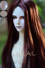 "7-8"" 1/4 BJD Red Brown Long Wig LUTS Doll SD DZ DOD MSD Pullip Dollfie Hair +Cap"