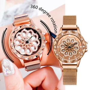 360-Grad-rotierende-Mode-Diamant-Zifferblatt-Damenuhr-Quarz-Mesh-Guertel-laufen