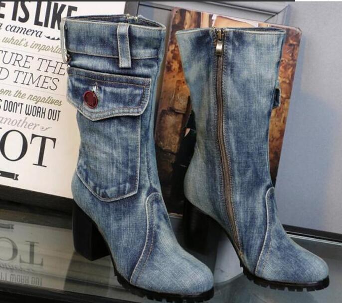 Da Donna Sz35-42 Retro Lavato Denim Metà Polpaccio Stivali trama scarpe grossa tasca zip laterale scarpe trama c7ce02