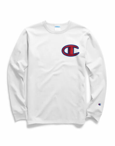 Long-Sleeve Tee Champion Life Men T-Shirt Heritage Floss Stitch C Logo Crew Neck
