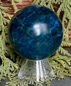 187.3g AWESOME BLUE/GREEN APATITE MINERAL CRYSTAL HEALING SPHERE Reiki  NORWAY