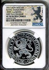 2017 Lion Dollar .9999 1 oz. Silver Dollar Royal Dutch Mint FDOI NGC PF 70 UCAM