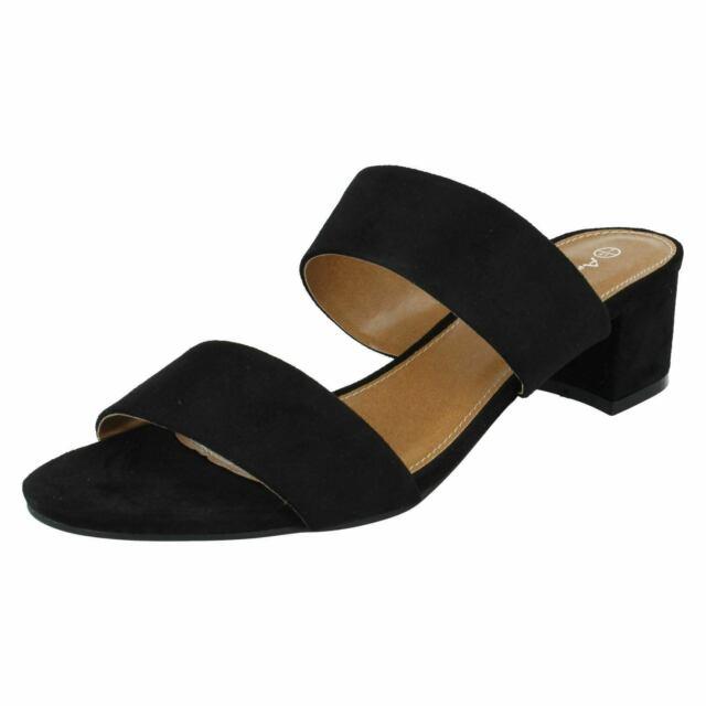 Anne Michelle F1R0627 Ladies Black Slip On Mule Sandals (R29A)