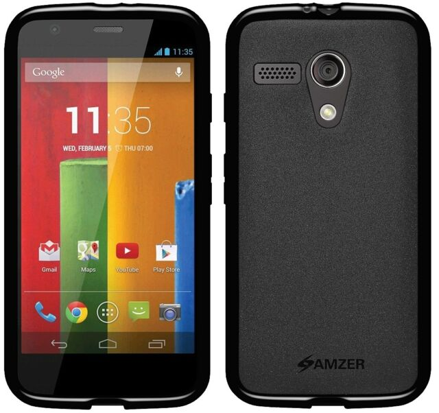Amzer Exclusive Pudding Matte TPU Case Cover For Motorola Moto G XT1032 - Black
