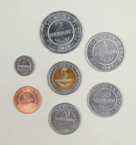 BOLIVIA COINS SET OF 7 PIECES AU-UNC