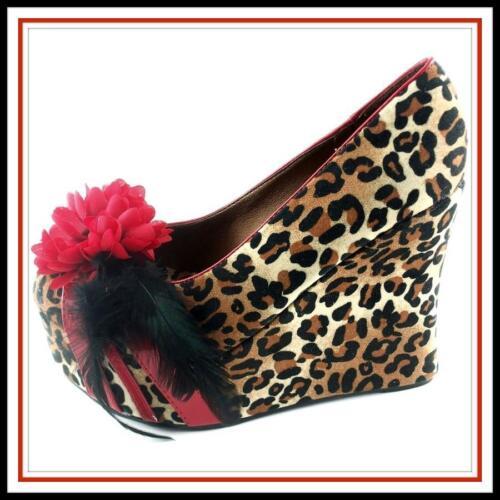 9 Edna Bettie Chaussure Compensée Wedge 5 Rockabilly Bombshell 5 Page 9 Leopard vnN0wm8