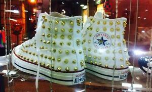 Converse Bianche Alte All Star Borchiate Bianche Borchie Oro Vintage stelle tesc
