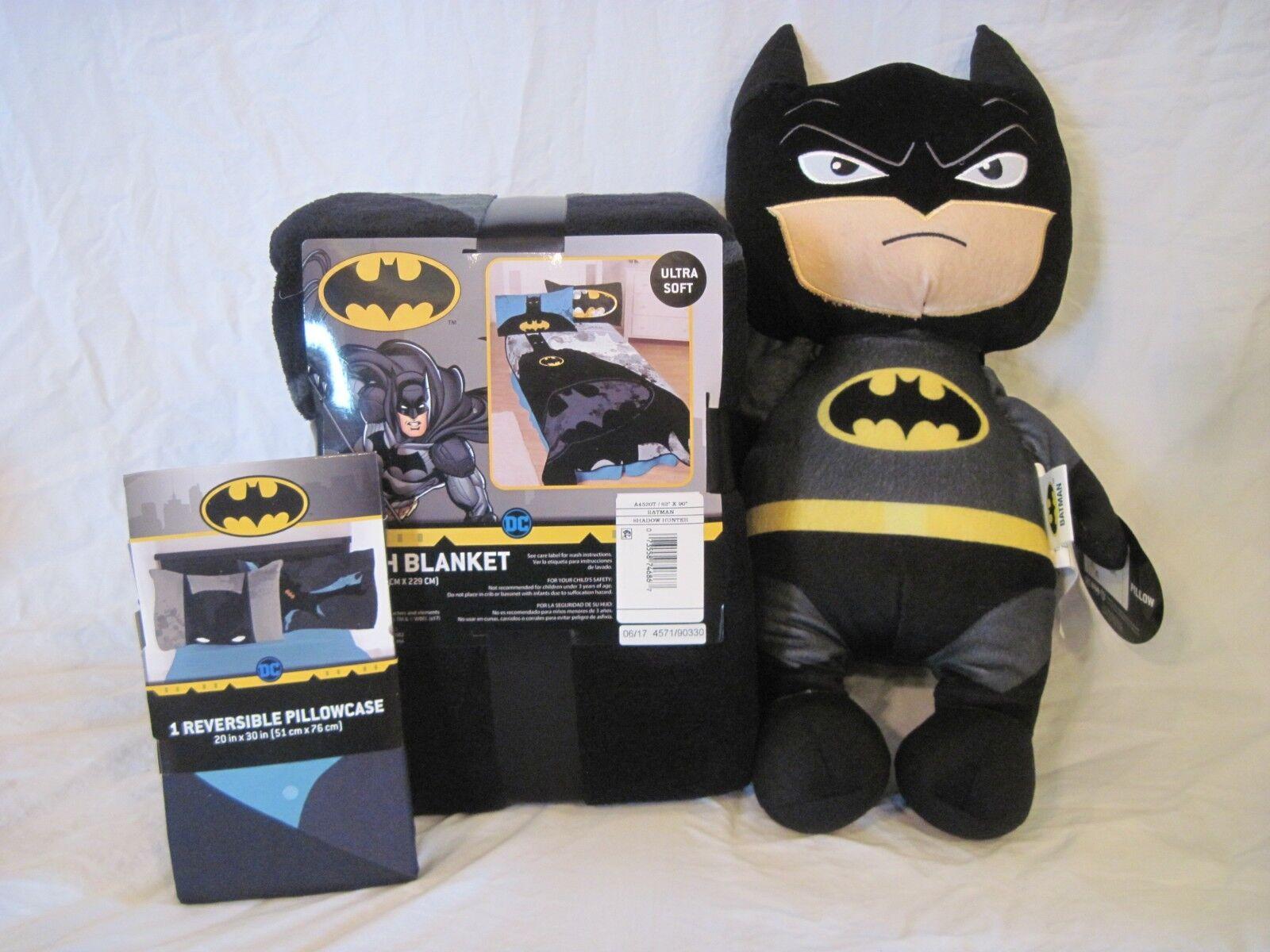 Batman Plush Throw Blanket, taie d'oreiller Chevalier Héros, et oreiller PAL Power Punch