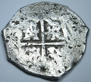 1600-039-s-Spanish-Silver-2-Reales-Piece-of-Eight-Real-Colonial-Treasure-Cob-Coin