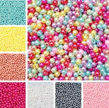 Wholesale Lots Bulk 500pcs Multicolor Round Pearl Imitation Glass Bead 4mm DIY