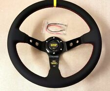 OMP Style UNIVERSAL Genuine Black Leather Red Stiching Deep Dish Steering Wheel