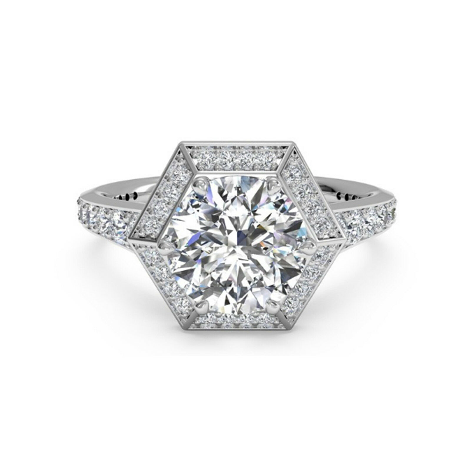 1.00 Ct Round Solitaire Diamond Engagement Ring 14K Real White gold Rings 0789