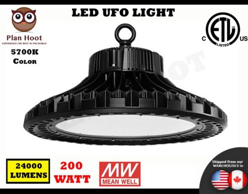 200 WATT LED UFO HighBay Light ETL 5700K Lamp Lighting Fixture Factory Industry