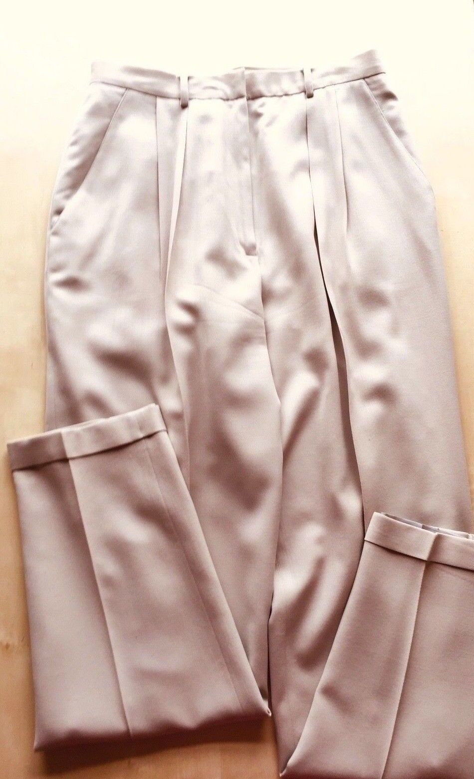 Eddie Bauer Light Tan Classic Pants 100% Lightweight Wool Full Polyester Lining