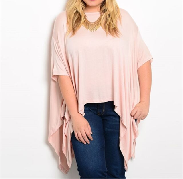 "Plus Size Ladies ""Dusty Pink"" Batwing/Flutter Top-PT9-CN247657"
