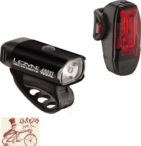 LEZYNE HECTO 400XL RECHARGEABLE BLACK BICYCLE HEADLIGHT AND TAILLIGHT SET