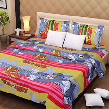 Dream Decor Premium Quality Pure Cotton Double Bed Sheet with 2 Pillow Covers