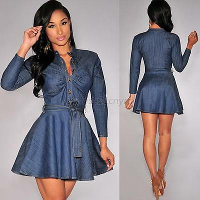 Women' Casual Short Mini Dress Denim Jean Belted Dress Long Sleeve Shirt Dresses