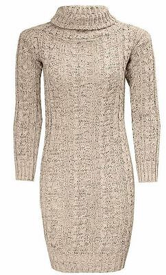 New ladies Long Sleeve Cowl Polo Neck Cable Knitted Jumper Mini Dress Top 8-14