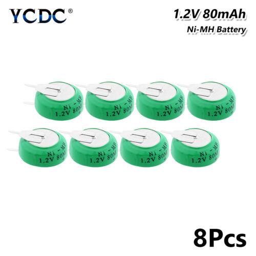 8Pcs 1.2V 80mAh Knopfbatterie Wiederaufladbar Batterien Akkupack Mit Zwei Tabs