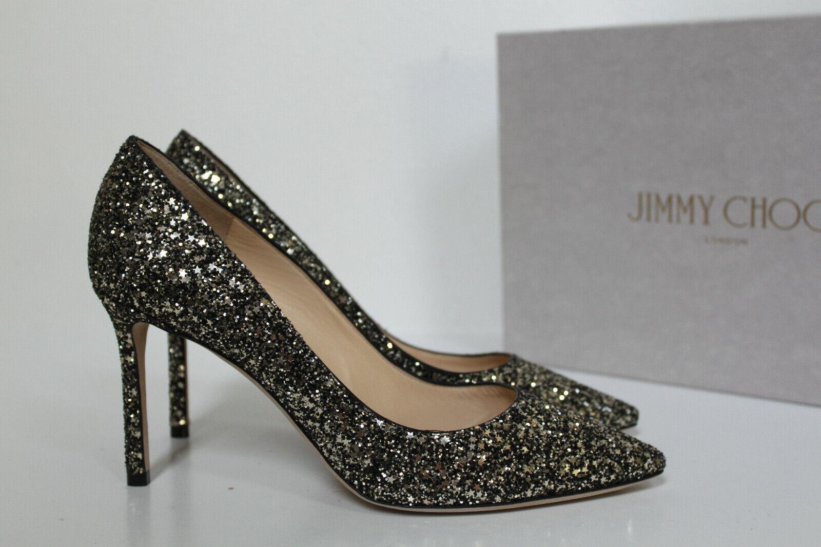 Sz 10   40 Jimmy Choo Romy Gunmetal Star Coarse Glitter Pointed Toe Pump shoes