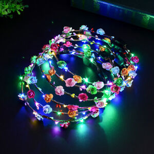 Image is loading LED-Flower-Floral-Hairband-Garland-Crown-Glowing-Wreath- 142224c9c75